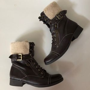 Buckled and Zippered Wool Combat Boots